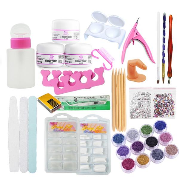 Set For Manicure Acrylic Power Manicure Nail Kit Acrylic Tips Cutter Glitter Rhinestones File Brush Nail Art Too