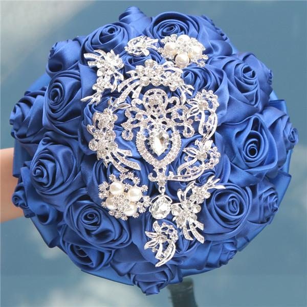 18CM Silk Rose Wedding Flower Bouquet Pearl Rhinestone Brooch Bridal Bouquet DIY Handmade Ribbon Artificial Flowers Wedding Supplies