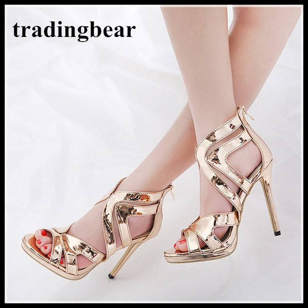 89b77ecdc0f Champagne Gold Cross Strappy Shoes Sexy High Heels 2018 Runway Show  Designer Shoes Size 35 To 40 Boat Shoes For Men Navy Shoes From Tradingbear
