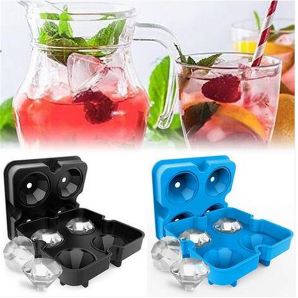 ¡¡¡¡Ventas!!!! Forma 4 Ice Maker Forma de diamante Bandeja Molde Cubo Cócteles Silicona Para Whisky Bar Herramientas Bareware Cocina Comedor Bar