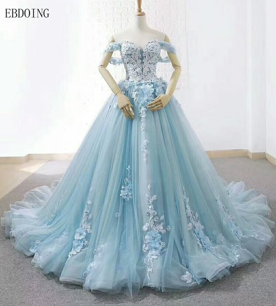 Charming A-line Light Blue Wedding Dress Sweetheart Neckline Real Photos Lace Up Court Train Custom Made Plus Size Short Sleeves With Flower