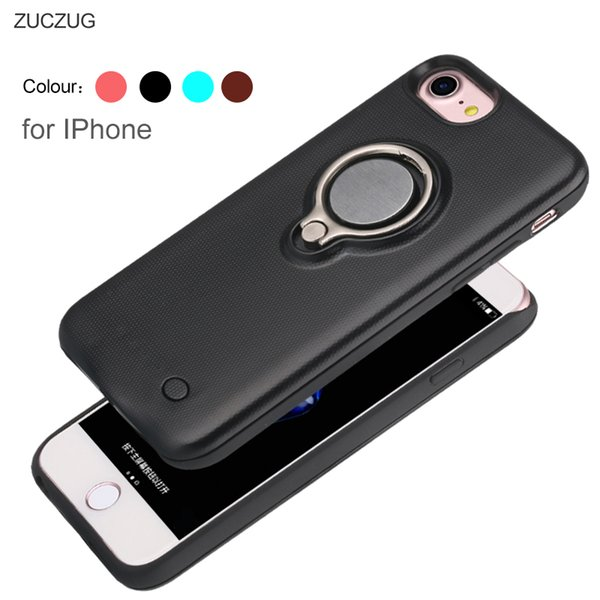 ZUCZUG Magnetic Battery Charger Case for iPhone 7 7plus 6S 6 Plus 6G i6 Power Bank Charging Cases Cover Finger Ring Car holder
