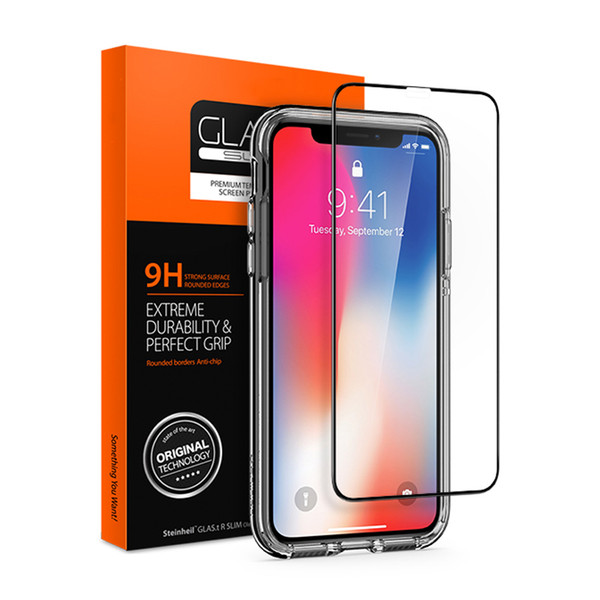 100% Original Spigen Glas. tR Slim Full Tempered Glass Cover Screen Protector for iPhone XS Max / Xs / X / XR