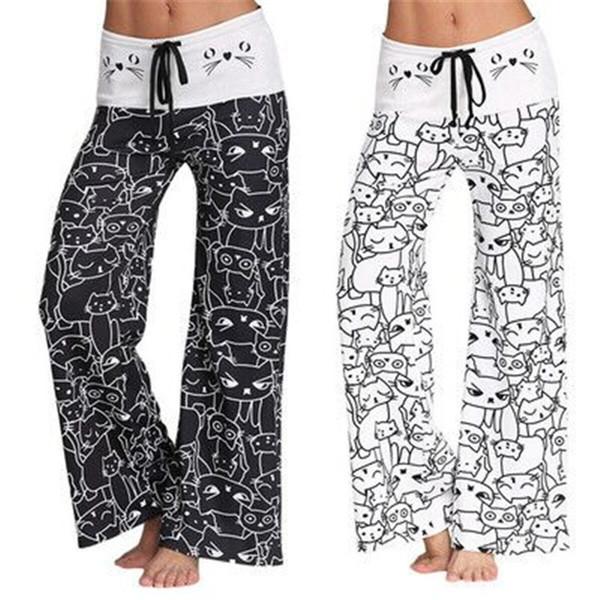 Kadın 'S Yoga Pantolon Spor Tayt Kedi Baskılı Gevşek Pantolon Eğitim Excersice Geniş Bacak Pantolon Kadınlar Için Karton Elastik ...