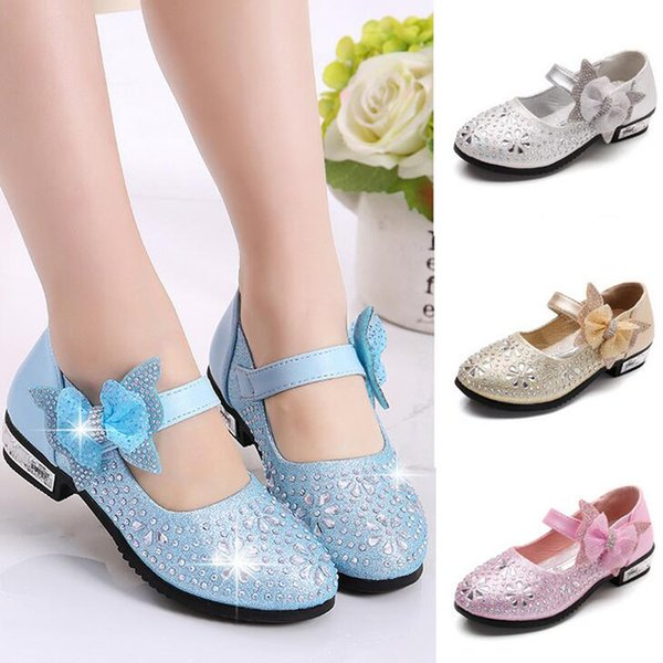 Children Princess Beauty Contest Leather Kids Girls Wedding Shoes High Heels Dress Shoes Party Shoes For Girls Beaded Crystal Sandals