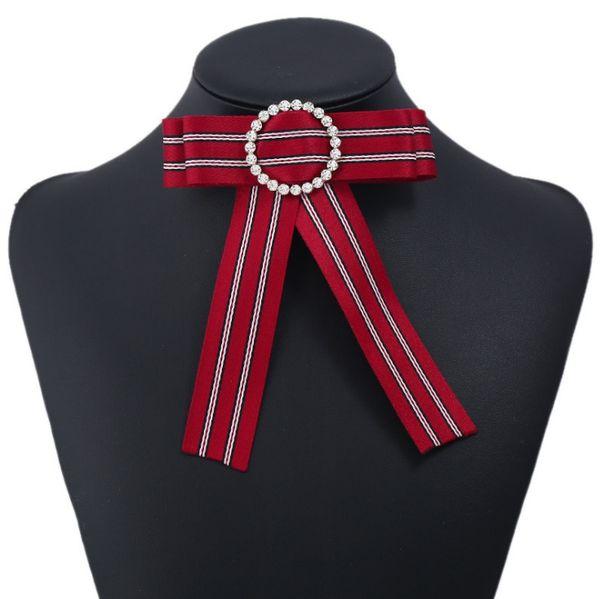 Señora de cristal de tela de tela a rayas broche blusa camisa vestido grande grande nudo arco broches para las mujeres collar falso partido