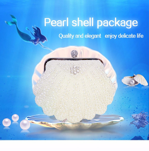 Hot Fashion Hand made Luxury Pearl Clutch bags Women Finger Ring Handbag Purse Diamond Chain white Evening Bags for Party Wedding Bolsa Fem