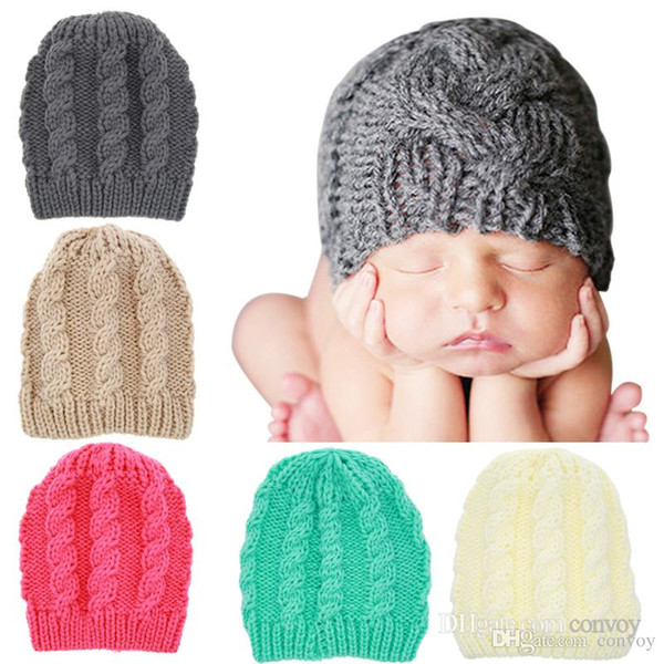Kids Winter Warm Hat plaid handmade knitting hats Sweet Cute Crochet Warm hats Newborn Children Knitted Caps BH46