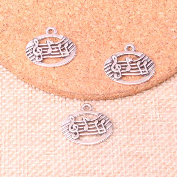 100 stücke Antique silver musical disc Charms Anhänger Fit Armbänder Halskette DIY Metall Schmuck Machen 20 * 17mm