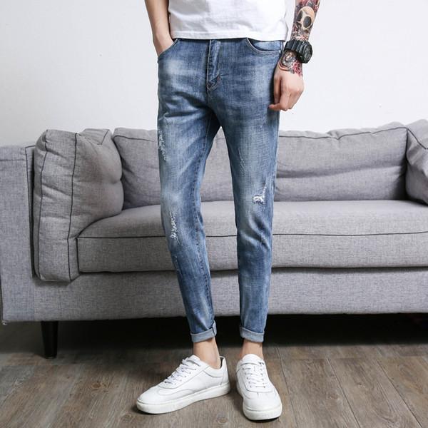 مستقيم خدش رجل الجينز العلامة التجارية سليم صالح الدينيم موضة بنطلون منتصف الخصر الكاحل طول ملابس رجالية 2018 زائد الحجم