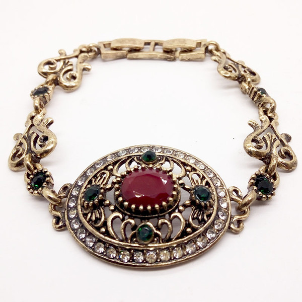 Turkey Bracelets For Women Tibetan Alloy Green Resin Color Anti-Gold Bangle Retro Bohemian Roman Royal Jewelry