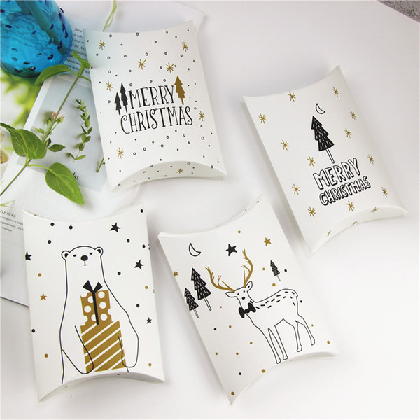 Wholesale Christmas packing box pillow shape gift box paper candy box 4 styles free shipping W8330
