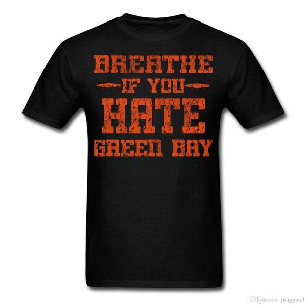 Breathe If You Dislike Green Bay Men's T-Shirt Adult 100% Cotton Tees Printed T Shirt Boys Top Tee Shirt Cotton