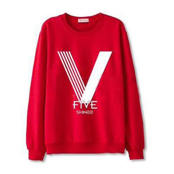 Shinee Kpop 5ème album FIVE Fans Hoodies de soutien pour les femmes Hommes Unisexe Harajuku Pull O-Neck coton sweat-shirt k-pop moletom