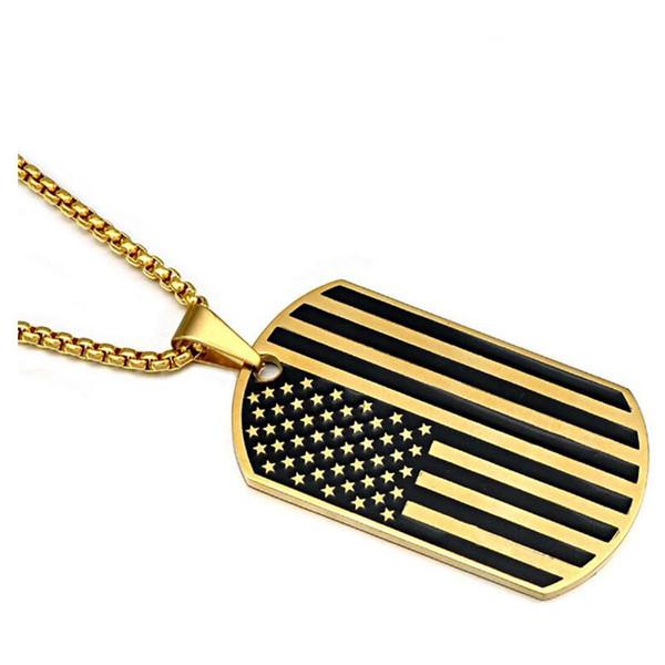 Edelstahl Amerikanische Flagge USA Patriot Freiheit Sternenbanner Hundemarke Rechteck Anhänger Halskette mit Box Kette 23,62