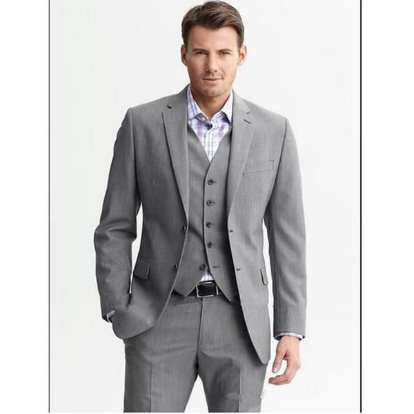 Custom Made Light Grey Hommes Costumes De Mariage Notch Revers Groom Tuxedos Slim Fit De Mariage Partie De Bal Hommes Costumes (Veste + Pantalon + Gilet)