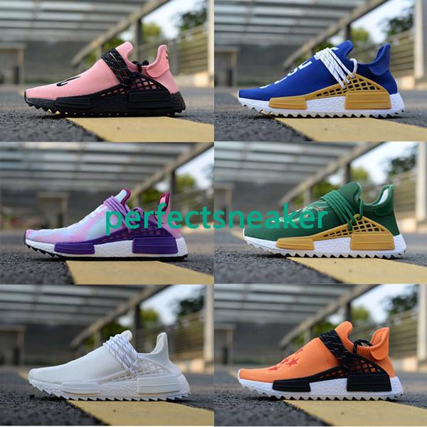 Yeni Renk İnsan Yarışı Fabrika Gerçek Çizmeler Sarı Kırmızı Siyah Turuncu Erkekler Pharrell Williams X İnsan Yarışı Koşu Ayakkabıları Sneakers