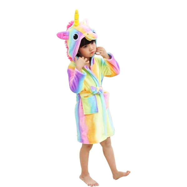Cute Kids Soft Bathrobe Unicorn Fleece Sleepwear Comfortable Loungewear for Boys Girls Children Nightwear clothing