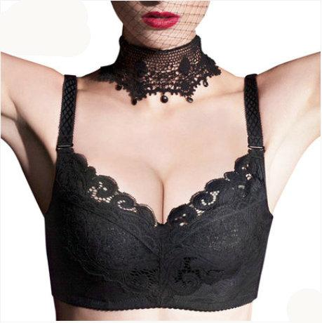 Plus Size 34-44 C D DD E Large Bras sexy lace Ultra Wide Shoulder Strap Solid Cup Breast Reduction Embrodiery Bra Underwear 3307