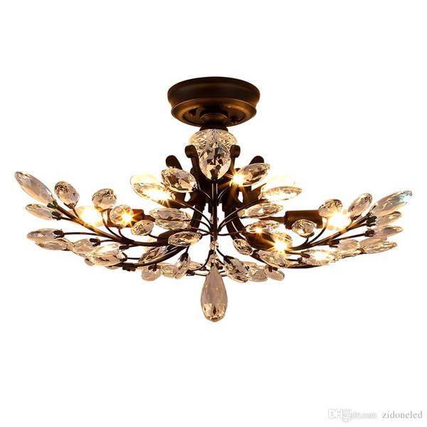 Amerikanische Landhausstil führte Kronleuchter Leuchten Eisen Kristall Deckenleuchte 8 Köpfe schwarz Kronleuchter Innenbeleuchtung