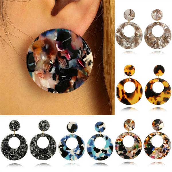 Leopard Clear Big Circle Earrings Jewelry Resin Acrylic Marble Texture Waterdrop Dangle Earrings