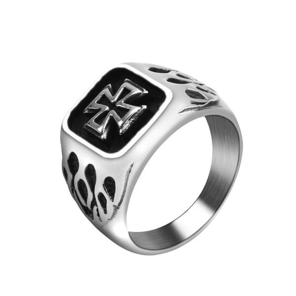 Black Cross Rings Men Vintage Stainless Steel Religious Christian Crucifix Finger Ring for Male Knight Biker Jewelry