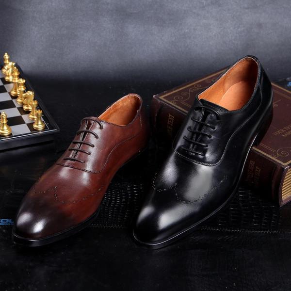 Mode Brown Black Mens Hochzeit Schuhe Ponited Toes Grooms Schuhe Casual Echtes Leder Schuhe für Männer Party Business Trauzeugen