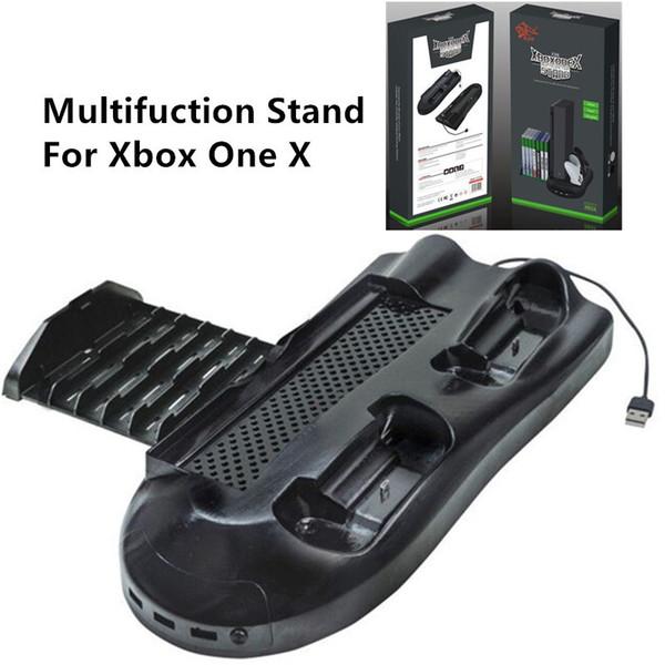Envío gratis Juego de ventilador de refrigeración multifuncional Cargador de disco de almacenamiento Vertical Stand con USB Hub para Xbox One X siempre disponible en stock