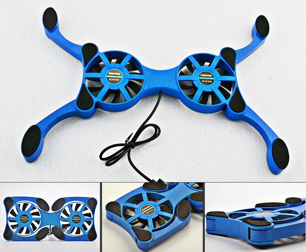 Hot Foldbale USB Double Fans Cooling Fan Mini Octopus c Cooling Pad Quiet Stand For 7 to 14 inch Notebook Laptop PC LLFA