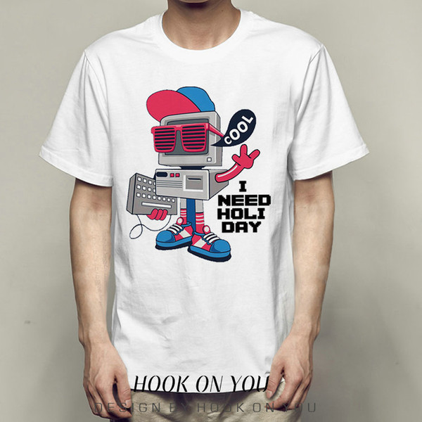 Need holiday t shirt Glass robot short sleeve gown Cool tees Fastness photo clothing Quality modal Tshirt