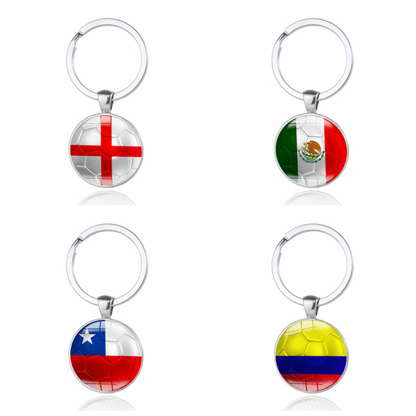 Russia 2018 World Cup Football Keychain Flag Pattern Football Alloy glass patch key ring Creative jewelry free shipping