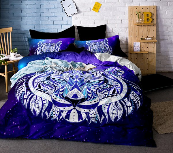 High Quality  3d Tiger Bear Lion Wolf Bedding Set Western Style Home Textiles Bed Linen Quilt Cover Pillowcase Bedspread