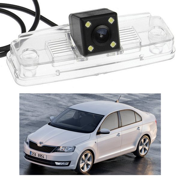 New 4 LED Car Rear View Camera Reverse Backup CCD fit for Skoda Rapid Sedan 2013-2015 2014