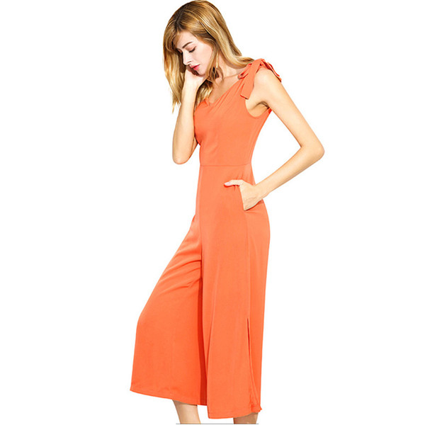 4e5a985a7a18 Summer Jumpsuits For Women 2018 Europe America Fashion Sexy Sleeveless  Suspenders Orange Calf-Length Loose Pants Jumpsuit Femme