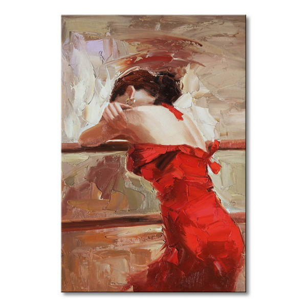 Acheter Fait Main Rouge Abstraite Mur Art Impression Figure Danseur Flamenco Peinture à L Huile Sur Toile Pour La Maison Cadeau De Décoration De