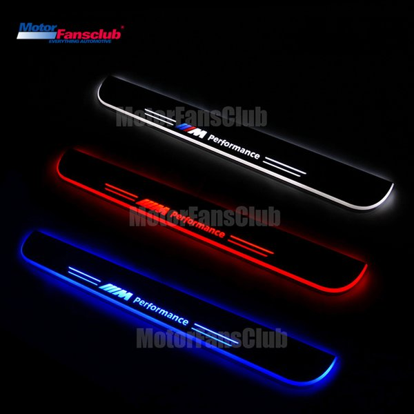 4Pcs LED Car Moving Light Nerf Bar Pedal for BMW E46 3series 1998-2005 Scuff Acrylic Tirm Plate Door Sill Guards Welcome Pathway