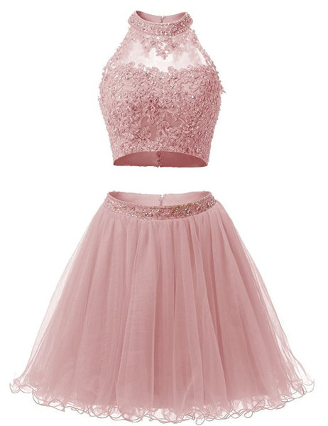 Two Pieces Homecoming Dresses High Neck Sleeveless Beaded Lace Tulle Mini Party Gowns Girls Short Prom Dress vestido curto Custom Size