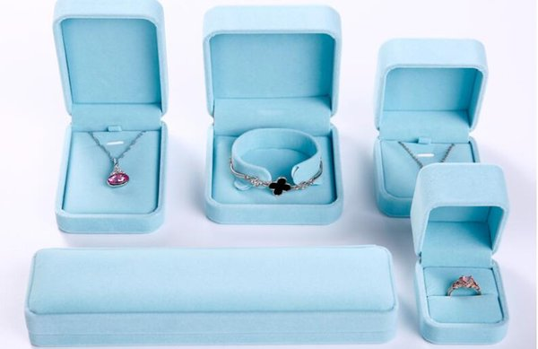 Velvet ring studs necklaces jewelry boxes pendant necklace boxes good quality new jewelry packaging blue box 449