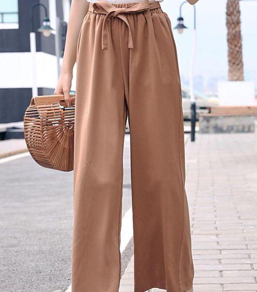 Pantaloni a gamba larga in chiffon a vita alta con vita alta estate femminile Sottili pantaloni a sezione sottile