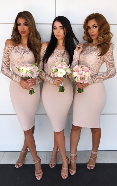 Elegant Lace Short Bridesmaid Dresses Off The Shoulder Long Sleeves Satin Sheath Knee Length Cream Bridesmaid Gowns Party Dresses