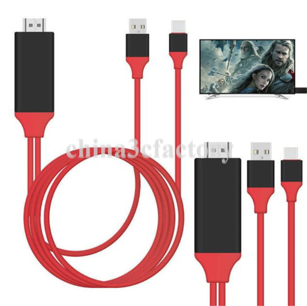 Universal HDMI Adapter Cable To HDTV 3 in 1 USB cable Connector lighting For Samsung Galaxy S8 Edge Note 5 X LG G4 with retail box