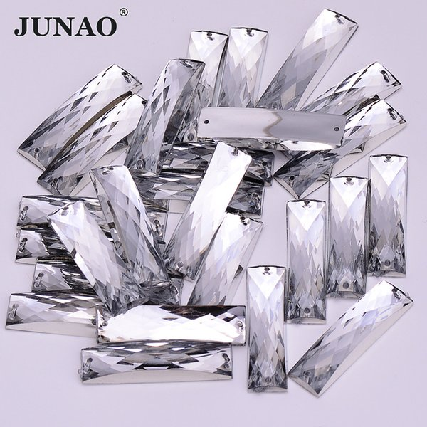JUNAO 7*26mm Sewing Clear White Crystal Rectangle Rhinestones Sew On Stones and Crystals Flatback Acrylic Strass For Crafts