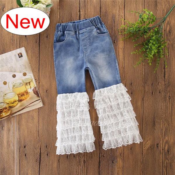 INS Verão Calças de Renda Cheia crianças denim azul rendas calça jeans calções shorts Moda denim crianças roupas de bebê meninos meninas calças de brim para crianças