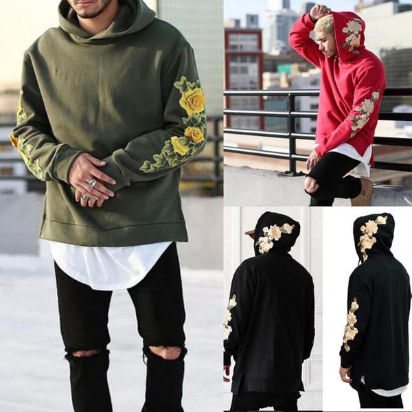 Men's Winter Floral Hoodie Hooded Coats Outwear Coon Casual Loose Sweatshirt Jumper Tops Red White