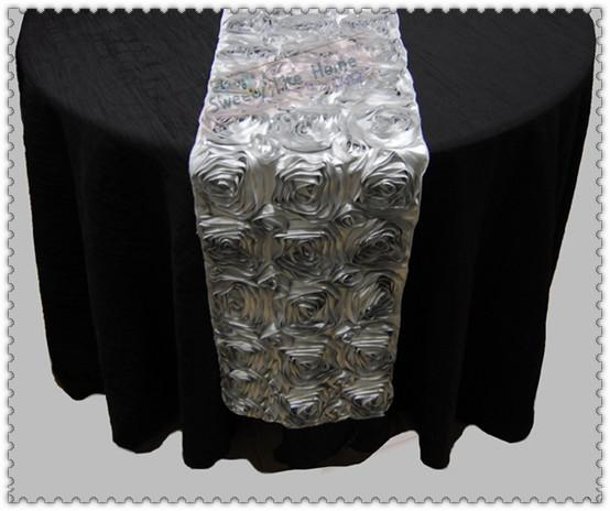 Free shipping 20pcs Rosette Table Runner for Weddings Events, Silver Table Runner for Weddings Events &Banquet &Party Decorations