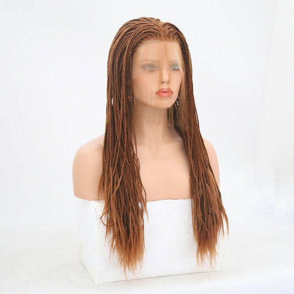 Brown Braided Synthetic Lace Front Wigs Glueless Heat Resistant Fiber Braid Wig With Baby Hair For Women