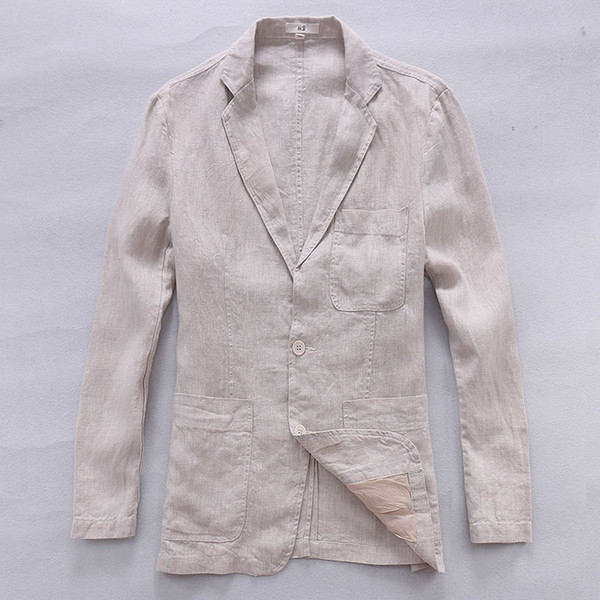 2017 New style British trend linen jacket men casual suit 100% flax brand clothing business suits men fashion blazer masculino