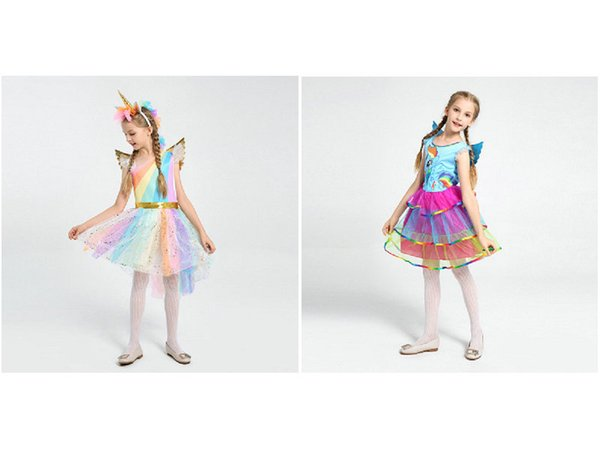 Retail costumes Halloween cosplay costumes unicorn hair accessories wings girl dresses stage performance rainbow princess dresses