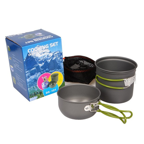 Practical Outdoor Cooking Set Round High Temperature Resistant Pot Kit Anti Wear Metal Aluminum Cookware Sets For Camping 22hl B