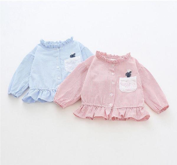 Baby Girls Stripped Camisetas Mandarin Collar Camisetas de manga larga Kids Flouncing Tops con bordado Girls Designer Clothing Tees LM56